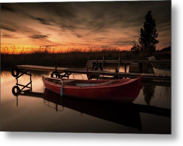 Red Boat At Sunset Metal Print