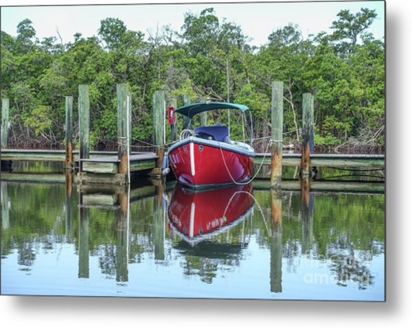 Metal Print featuring the photograph Red Boat Docked Florida by Edward Fielding