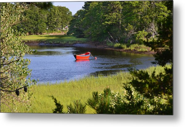 Red Boat On The Herring River Metal Print
