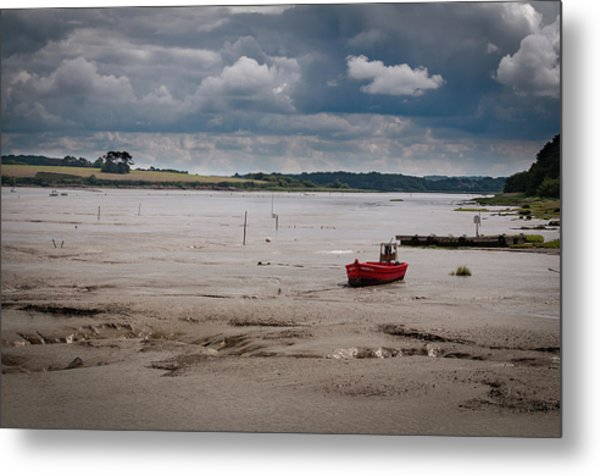 Red Boat On The Mud Metal Print