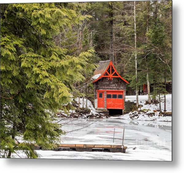 Red Boathouse Metal Print