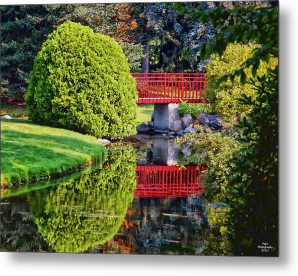 Red Bridge At Dow Gardens Metal Print