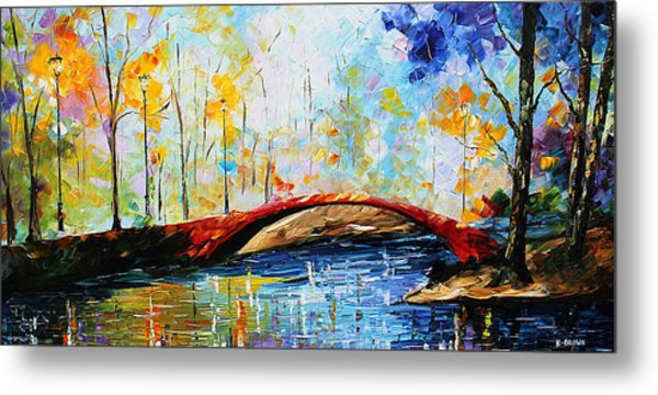 Metal Print featuring the painting Red Bridge by Kevin Brown