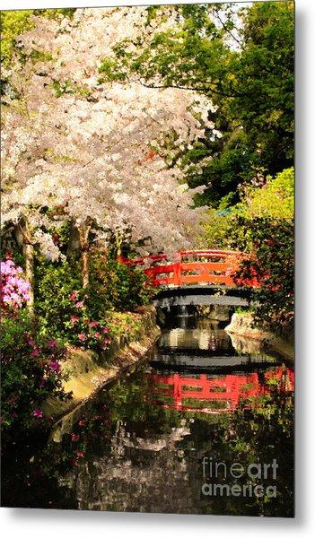 Red Bridge Reflection Metal Print