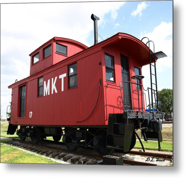 Red Caboose Metal Print by Dennis Stein