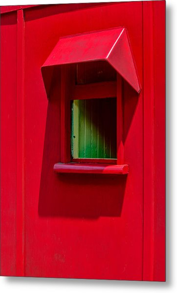 Red Caboose Window In Shade Metal Print