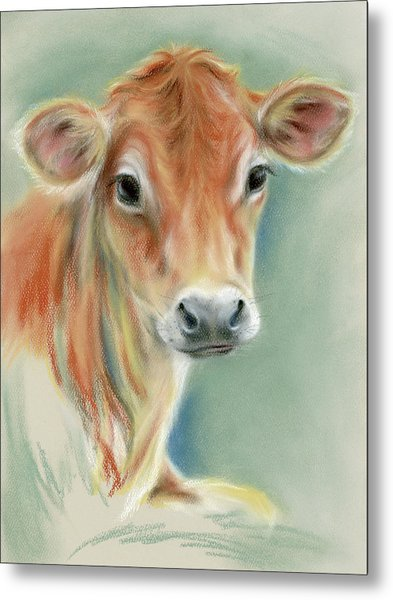 Red Calf Portrait Metal Print