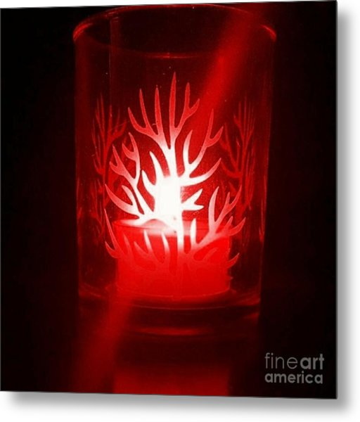Red Candle Light Metal Print