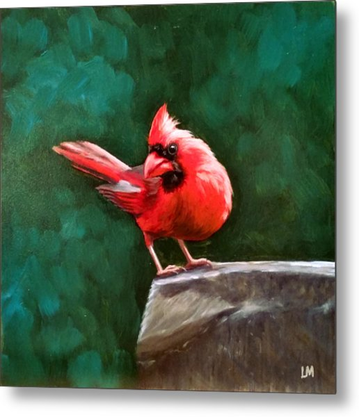 Metal Print featuring the painting Red Cardinal by Linda Merchant