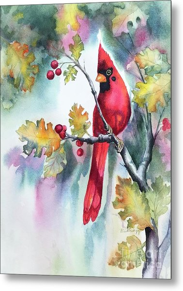 Red Cardinal With Berries Metal Print