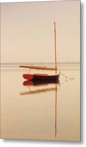 Red Catboat On Misty Harbor Metal Print