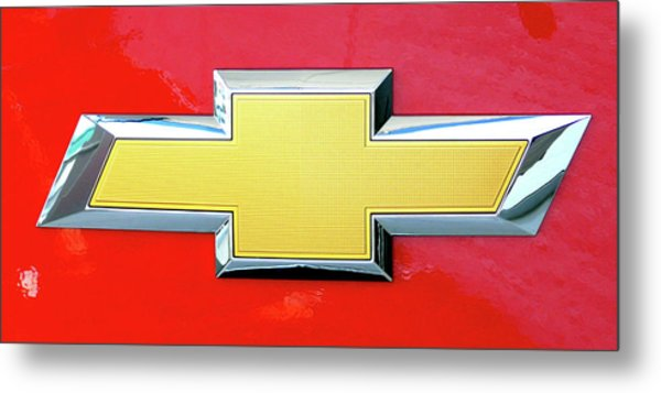 Red Chevy Bowtie Metal Print