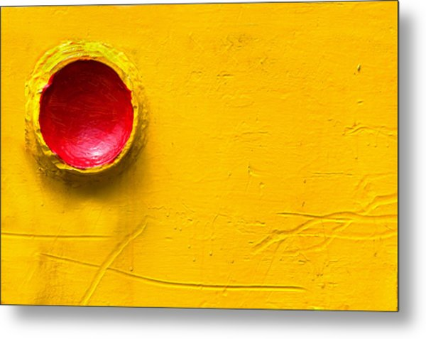 Red Circle In The Corner Metal Print
