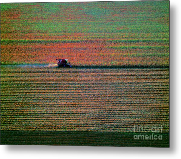 Red Combine Harvesting  Mchenry Aerial Metal Print