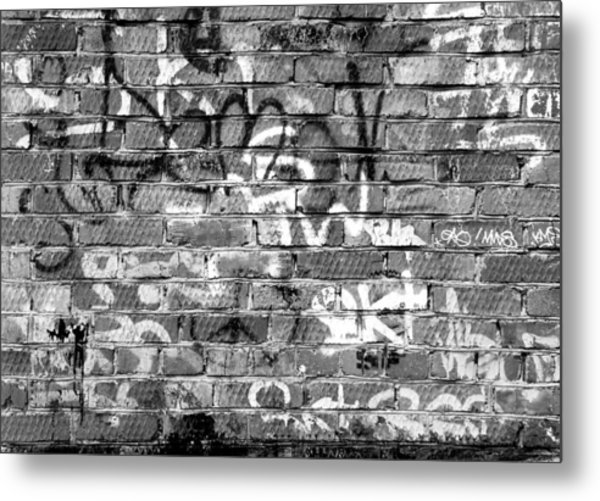 Red Construction Brick Wall And Spray Can Art Signatures Metal Print