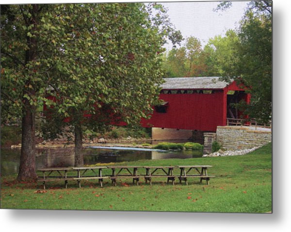Red Covered Bridge Metal Print