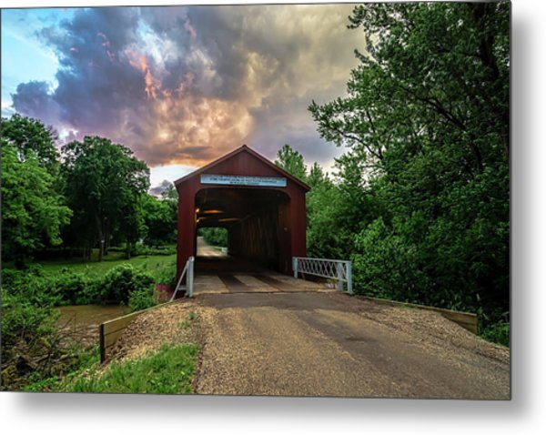 Red Covers Bridge With Pretty Sky  Metal Print