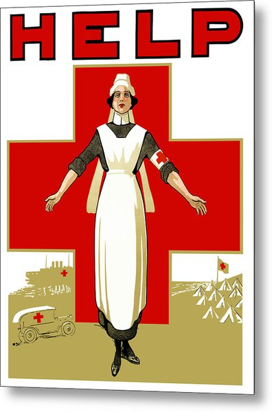 Red Cross Nurse - Help Metal Print