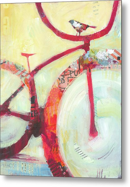 Red Cruiser And Bird Metal Print