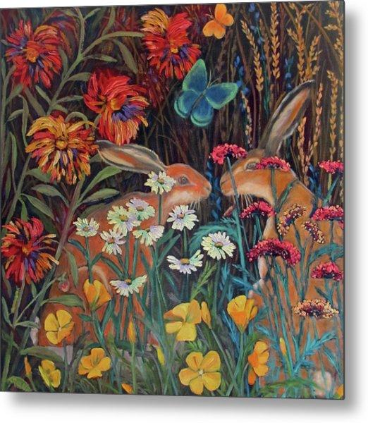 Red Dahlia Garden- Dyptich A Metal Print