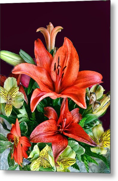 Red Day Lily Bouquet Metal Print by Linda Phelps