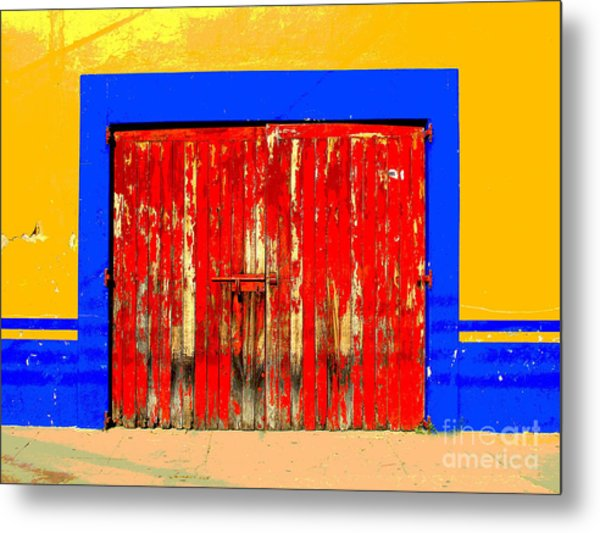 Red Door By Darian Day Metal Print by Mexicolors Art Photography