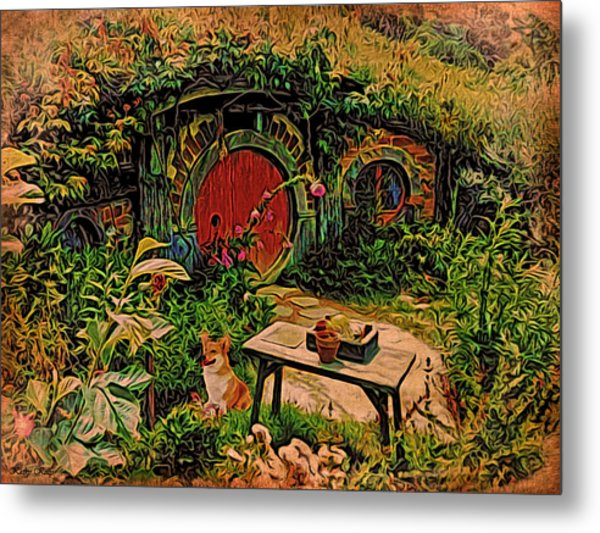 Red Door Hobbit House With Corgi Metal Print