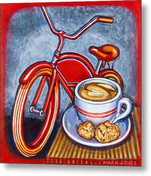 Red Electra Delivery Bicycle Cappuccino And Amaretti Metal Print