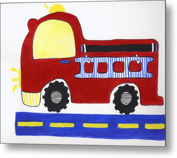 Red Fire Truck Metal Print by Christine Quimby