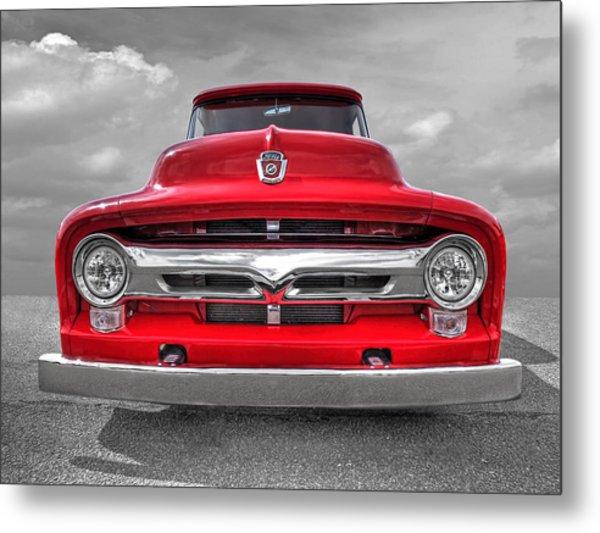 Red Ford F-100 Head On Metal Print