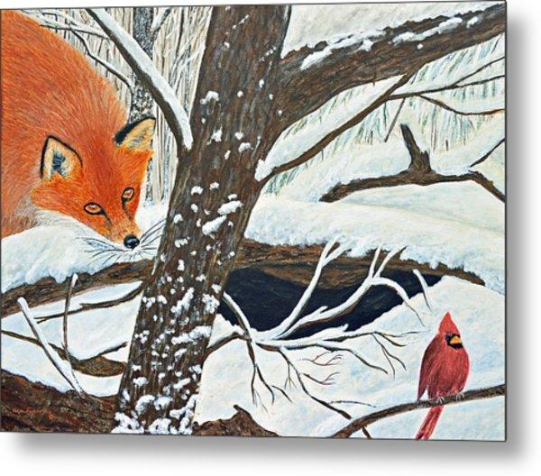 Red Fox And Cardinal Metal Print