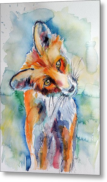 Red Fox Watching Metal Print