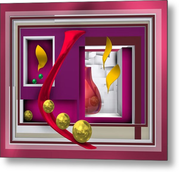 Metal Print featuring the digital art Red Glass In The Room With White Light by Alberto RuiZ