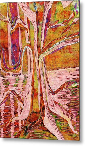 Red-gold Autumn Glow River Tree Metal Print