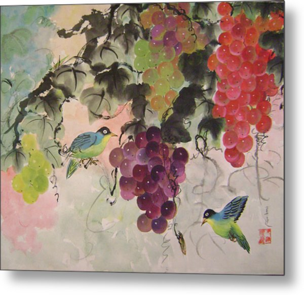 Red Grapes And Blue Birds Metal Print by Lian Zhen