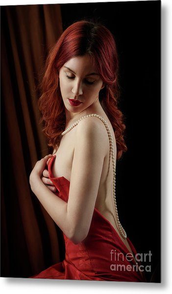 Red Hair Woman Metal Print