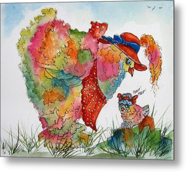 Red Hat Chick Cutie Metal Print by Gina Hall