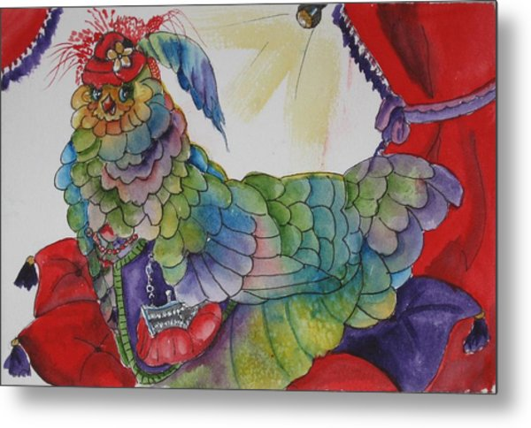 Red Hat Chick With Purse Metal Print by Gina Hall