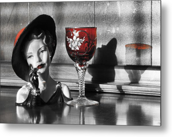 Red Hat Lady Metal Print