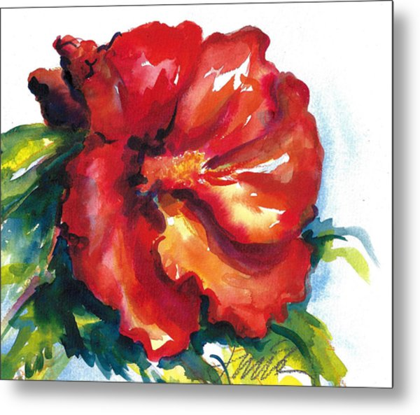 Fireball Red Hibiscus Metal Print