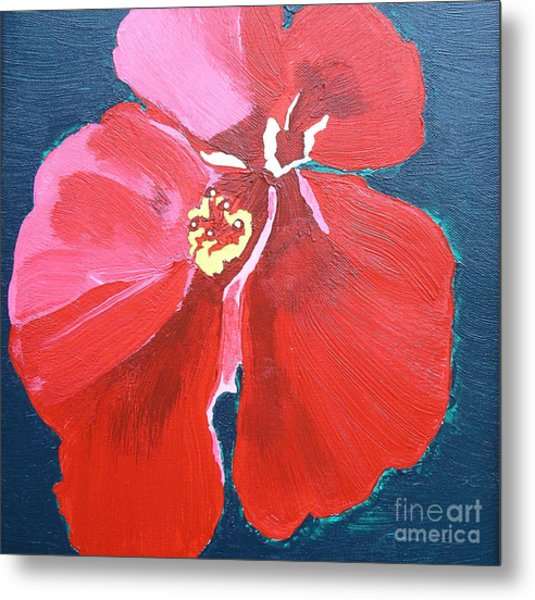 Red Hibiscus On Green Metal Print by Karen Nicholson