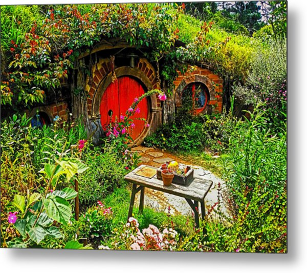 Red Hobbit Door Metal Print