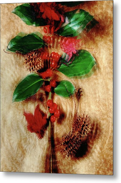 Red Holly Spinning Metal Print