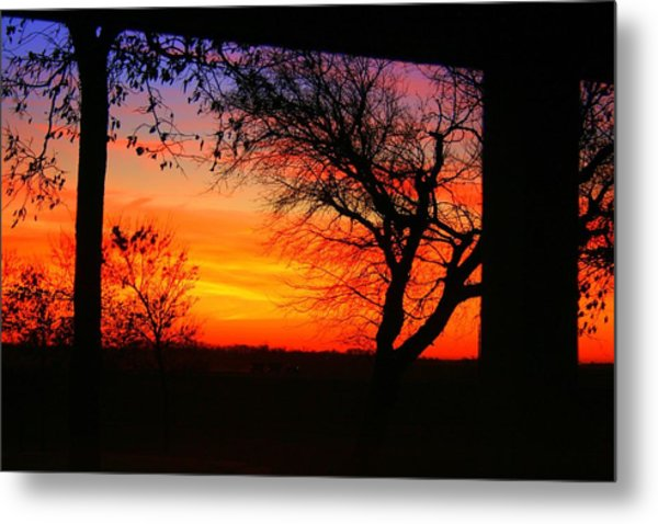 Red Hot Sunset Metal Print by Julie Lueders
