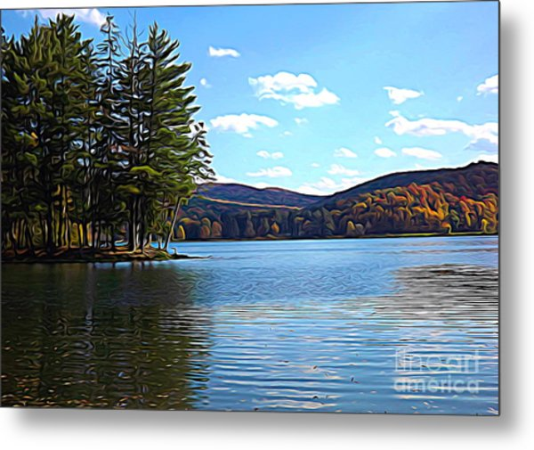 Red House Lake Allegany State Park In Autumn Expressionistic Effect Metal Print