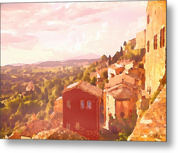 Red House On A Hill Metal Print