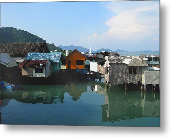 Red House On The Water Metal Print