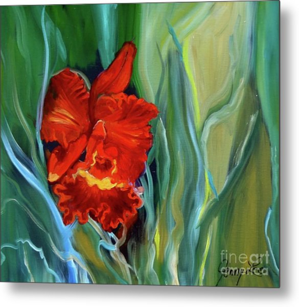 Red Jungle Orchid Metal Print