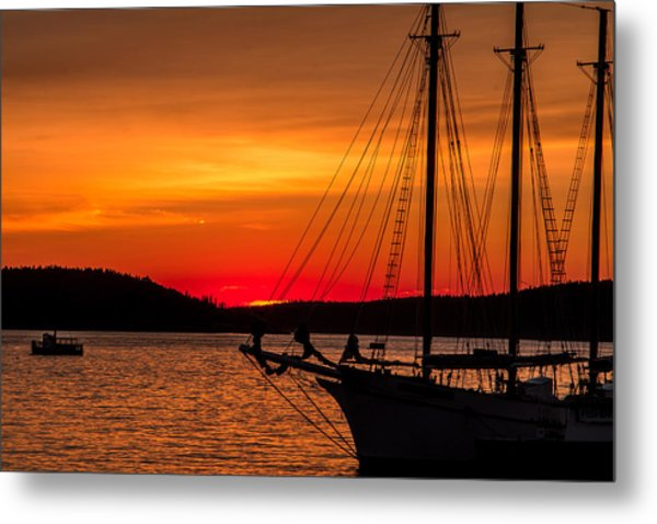 Red Maine Sunrise Metal Print