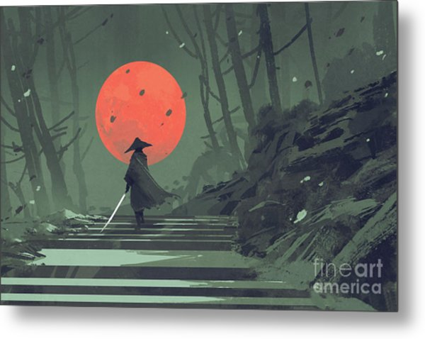 Metal Print featuring the painting Red Moon Night by Tithi Luadthong